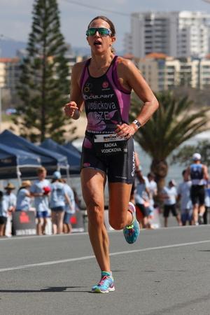 MOOLOOLABA, AUSTRALIA - SEPTEMBER 14 : Pro Radka Vodickova 2nd in the Ironman 70.3 triathlon on September 14, 2014 in Mooloolaba, Australia