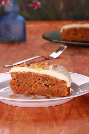 carrot cake: Carrot cake with cream cheese icing candied ginger and lemon zest