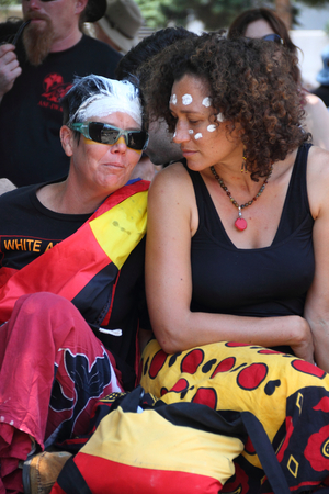 abbott: BRISBANE, AUSTRALIA - NOVEMBER 14: Aboriginal gay community listening to aboriginal deaths in custody protest on November 14, 2014 in Brisbane, Australia