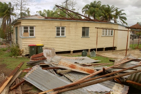 declared: BRISBANE, AUSTRALIA - NOVEMBER 28 : Roof blown off house from super cell hail storm area declared disaster on November 28, 2014 in Brisbane, Australia Editorial