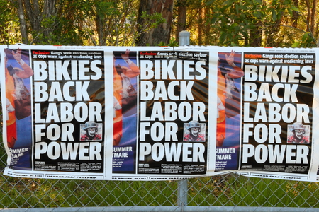 state election: MORAYFIELD, AUSTRALIA - JANUARY 31: Queensland State Election LNP bunting claiming criminal  donations to the Labor party on January 31, 2015 in Morayfield, Australia