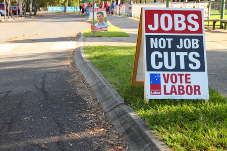 state election: MORAYFIELD, AUSTRALIA - JANUARY 31: Queensland State Election Labor sign anti public service job cuts on January 31, 2015 in Morayfield, Australia