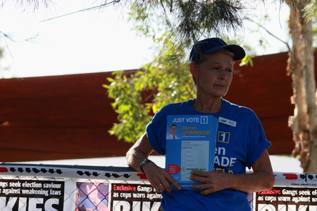state election: MORAYFIELD, AUSTRALIA - JANUARY 31: Queensland State Election undentified lnp volunteers haning out how to vote cards on January 31, 2015 in Morayfield, Australia