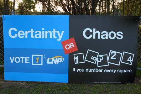 state election: MORAYFIELD, AUSTRALIA - JANUARY 31: Queensland State Election LNP bunting anti preferential voting on January 31, 2015 in Morayfield, Australia