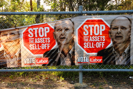 state election: MORAYFIELD, AUSTRALIA - JANUARY 31: Queensland State Election Labor bunting anti asset sales on January 31, 2015 in Morayfield, Australia