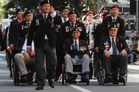 boer: BRISBANE, AUSTRALIA - APRIL 25 : South African veterans march during Anzac day centenary commemorations April 25, 2015 in Brisbane, Australia