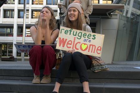 abbott: BRISBANE, AUSTRALIA - JUNE 20 : Unidentified protesters take part in World Refugee Day Rally June 20, 2015 in Brisbane, Australia Editorial