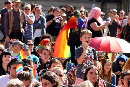 abbott: BRISBANE, AUSTRALIA - AUGUST 8 2015: Marriage Equality Rally August 8, 2015 in Brisbane, Australia Editorial
