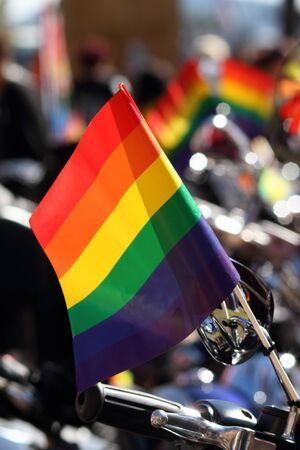 abbott: BRISBANE, AUSTRALIA - AUGUST 8 2015: Gay pride flag on dykes on bikes motorbikes at Marriage Equality Rally August 8, 2015 in Brisbane, Australia