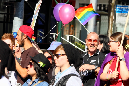 abbott: BRISBANE, AUSTRALIA - AUGUST 8 2015:Street marchers at Marriage Equality Rally August 8, 2015 in Brisbane, Australia