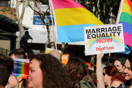 marchers: BRISBANE, AUSTRALIA - AUGUST 8 2015:Street marchers at Marriage Equality Rally August 8, 2015 in Brisbane, Australia