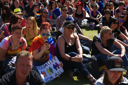 wedding parade: BRISBANE, AUSTRALIA - AUGUST 8 2015: Crowds gathered to listen to speakers at Marriage Equality Rally August 8, 2015 in Brisbane, Australia Editorial