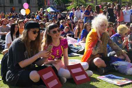 senate elections: BRISBANE, AUSTRALIA - AUGUST 8 2015: Crowds gathered to listen to speakers at Marriage Equality Rally August 8, 2015 in Brisbane, Australia Editorial