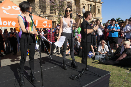 wedding parade: BRISBANE, AUSTRALIA - AUGUST 8 2015:The Veronicas speaking at Marriage Equality Rally August 8, 2015 in Brisbane, Australia