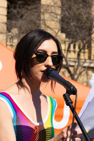 abbott: BRISBANE, AUSTRALIA - AUGUST 8 2015: Jess Origliasso  from The Veronicas speaking at Marriage Equality Rally August 8, 2015 in Brisbane, Australia Editorial