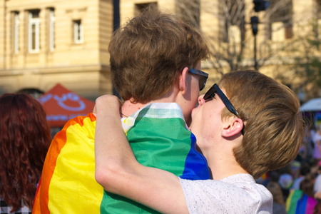 wedding parade: BRISBANE, AUSTRALIA - AUGUST 8 2015:Same-sex couple at Marriage Equality Rally August 8, 2015 in Brisbane, Australia