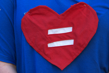bill of rights: BRISBANE, AUSTRALIA - AUGUST 8 2015:Equal love heart shirt at Marriage Equality Rally August 8, 2015 in Brisbane, Australia Editorial