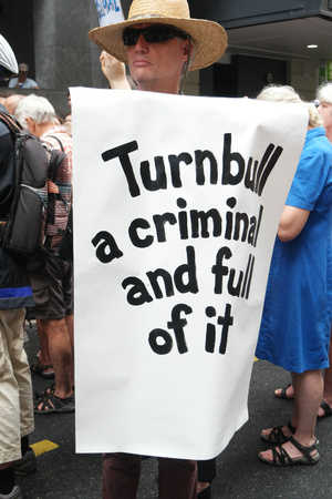 BRISBANE, AUSTRALIA - FEBRUARY 05 :Anti Primeminister sign at protest in support of churches offering sanctuary to refugees February 05, 2016 in Brisbane, Australia