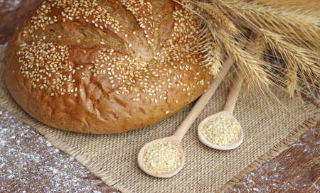 spikelets: tasty bread with spikelets, close-up Stock Photo