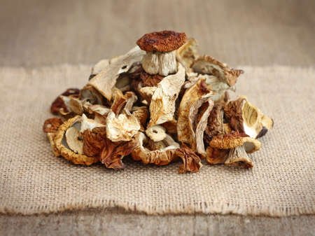 fungous: pile of dried mushrooms, close-up Stock Photo