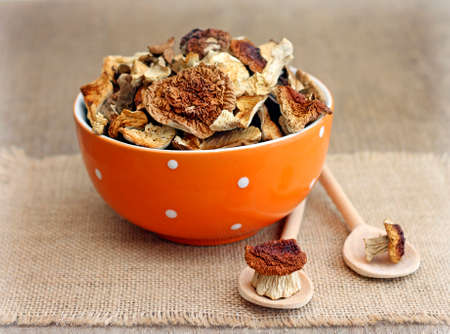 fungous: Dried mushrooms in orange bowl on wooden background, close-up