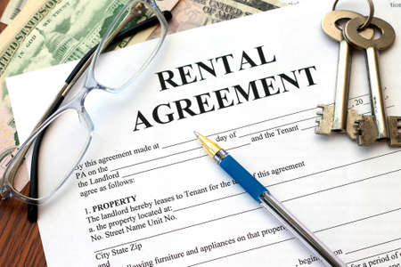 property: rental agreement, close-up Stock Photo