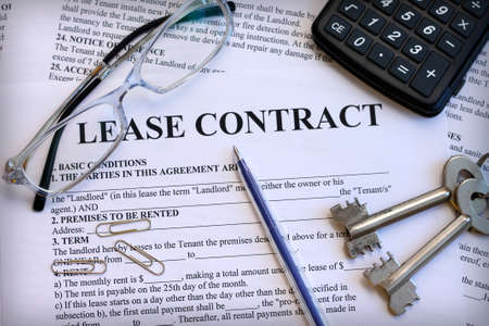 Lease contract, close-up