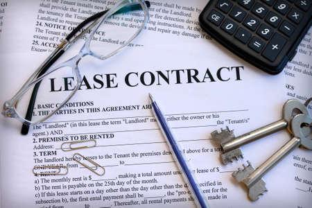 ley: Contrato de arrendamiento, primer plano Foto de archivo