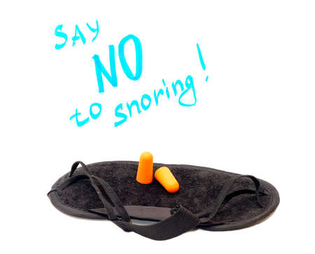 Concept - Say no to snoring. Sleeping mask and earplugs photo