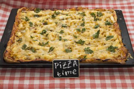 appetizing: Studio shot of appetizing baked pizza on pan