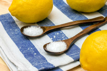 citric acid: Image of Acidity regulator - citric acid in wooden spoons