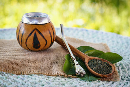 Image of Calabash with mate tea, on bright green backdrop Reklamní fotografie