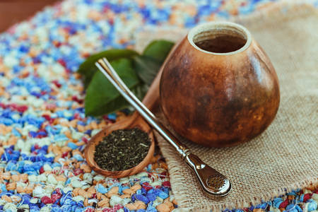 Horizontal photo of calabash and bombilla for drinking mate Reklamní fotografie