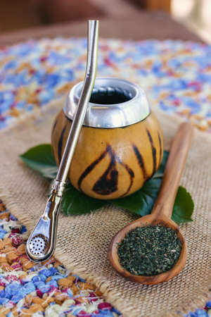 Image of Calabash and mate tea, close-up