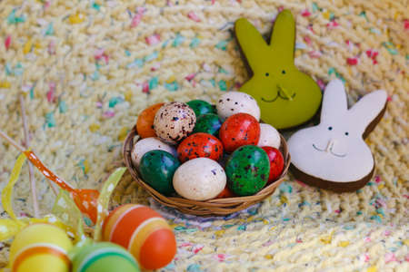 Sweet Easter. Image of chocolate eggs and cute decorations Reklamní fotografie