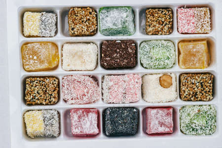 Top view of assorted Turkish Delight in the box