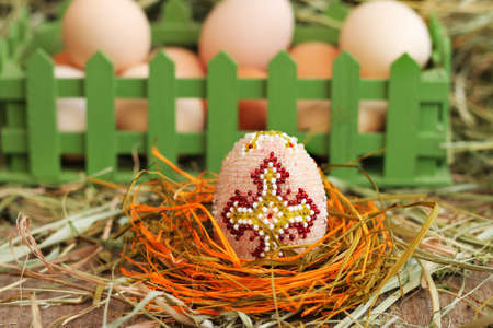 Image of easter egg decorated with beads, close-up Reklamní fotografie