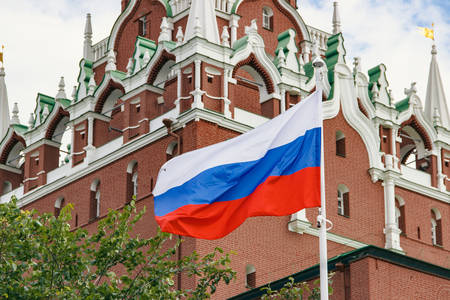 Travel. Russian flag waving on background of Kremlin tower Stock Photo