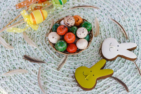 Happy Easter. Chocolate treats for festive table, close-up