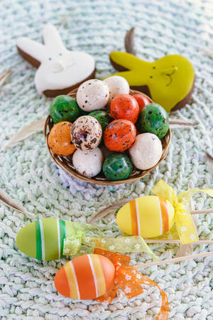Vertical photo of chocolates for the Easter table, close-up Stock Photo