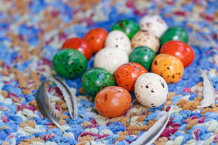 Easter. Chocolate eggs for the festive table, close-up Stock Photo