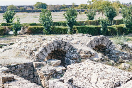 Turkey Attractions. Photo of Hierapolis ruins, close-up Stock Photo