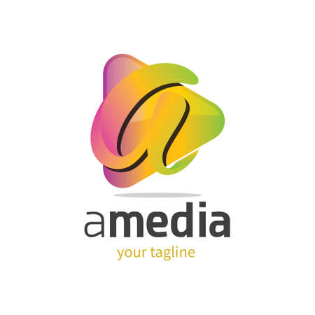 3d modern and colourful logo with letter a and (musicvideo) play button