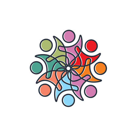 Colourful peoples logo Ilustração