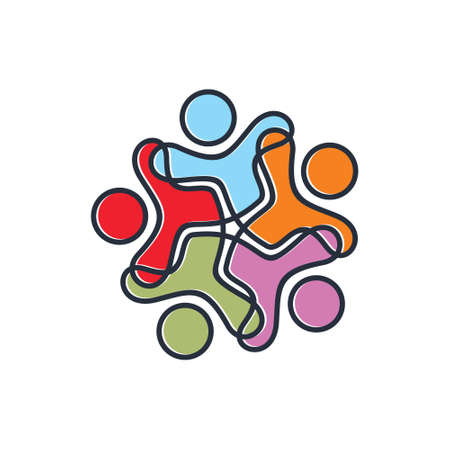 Colourful peoples logo Illustration