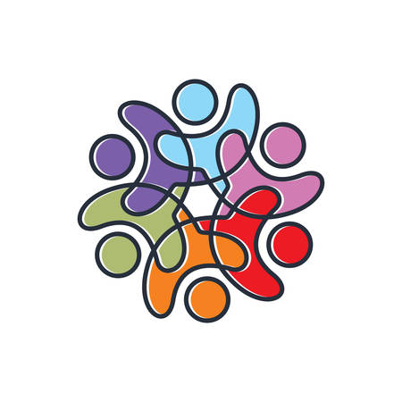 Colourful peoples logo Illustration