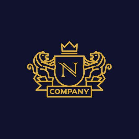 手紙 N 紋章付き外衣  イラスト・ベクター素材