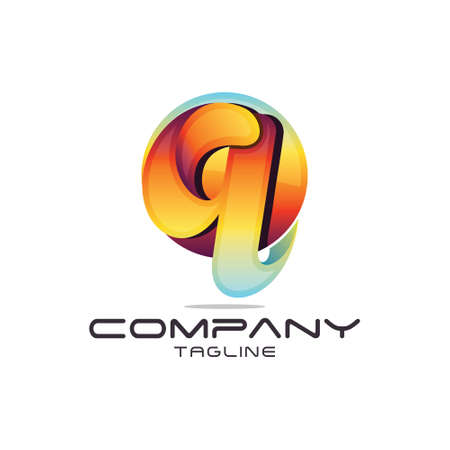 3D Modern Letter Q Logo Illustration