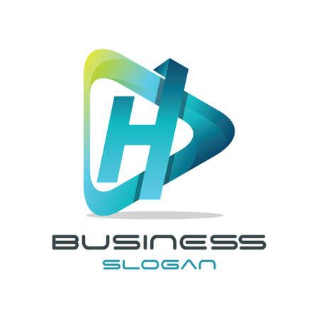 Modern Letter H Media Logo Vettoriali