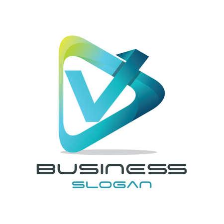 Modern Letter V Media Logo